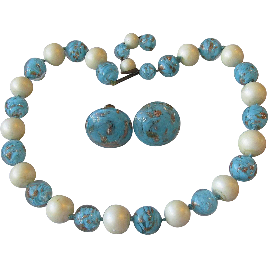Vintage Venetian Murano Turquoise & Gold Glitter Glass Bead & Faux Pearl Necklace & Earrings Set