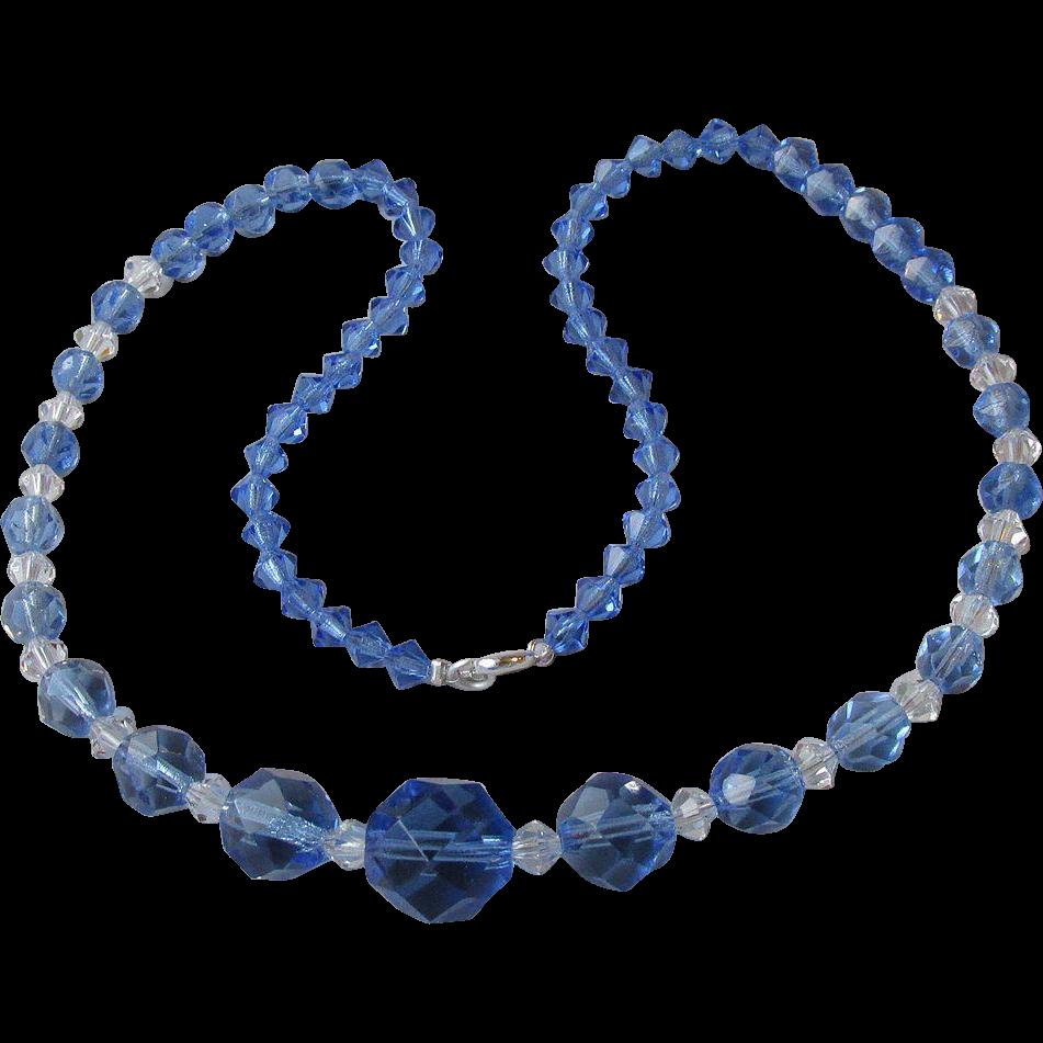 Vintage Unusual Square Cut Blue CZECH Crystal Necklace