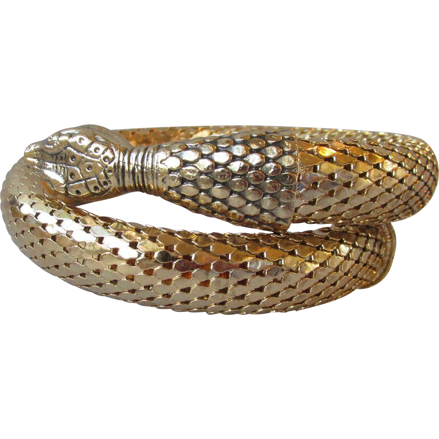 Sparkling Vintage Whiting & Davis Snake Coil Gold-Tone Mesh Bracelet