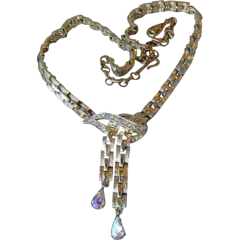 Vintage 1950's Coro Dripping Aurora Borealis Tear Drop Rhinestone Necklace