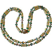 1950's Outstanding 2-Strand Green AB Crystal & Gold Tone Filigree Tube Bead Necklace