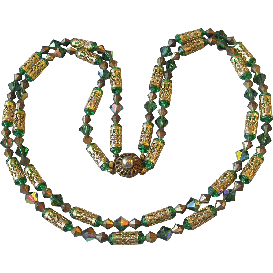 Gorgeous Vintage 2-Strand Green Aurora Borealis Crystal & Filigree Tube Bead Necklace
