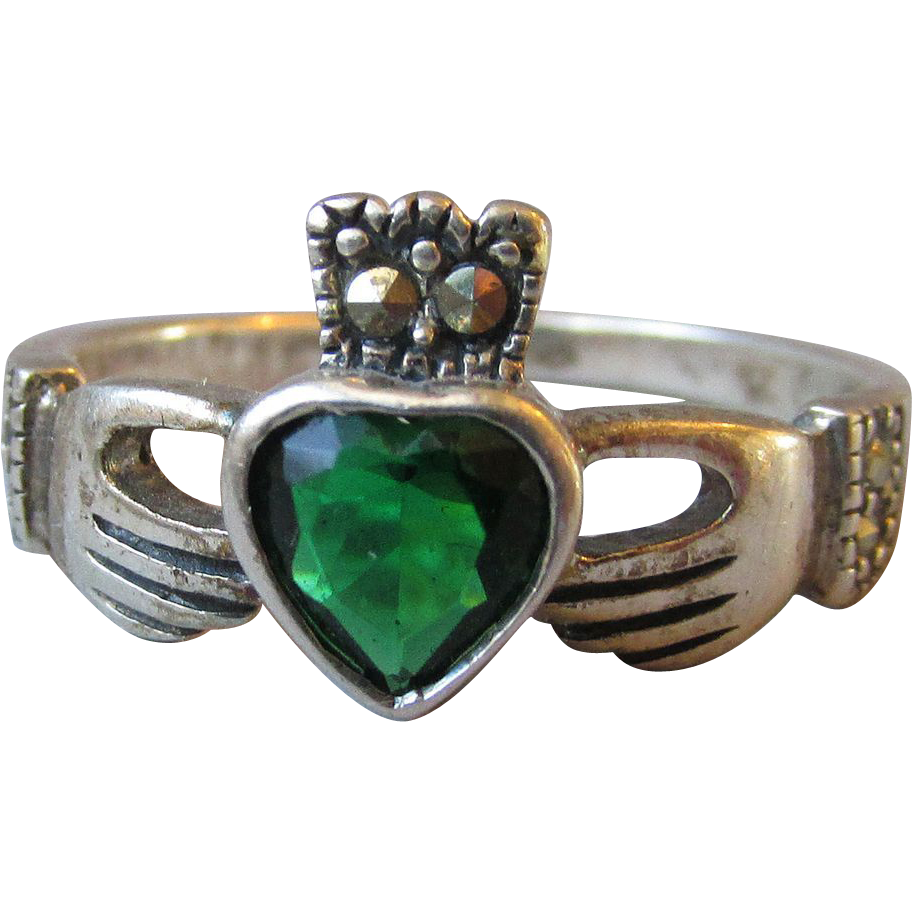 Vintage Sterling Silver Irish Claddagh Band Ring, Green ...