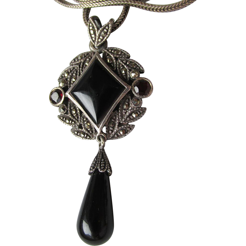 Vintage 1980's Sterling Silver Lavalier - Onyx, Garnet & Marcasite Dangle Pendant Necklace