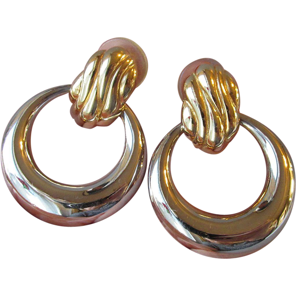 Vintage 1980's BIG Signed TAT Door Knocker Hoop Silver & Gold Tone Pierced Earrings