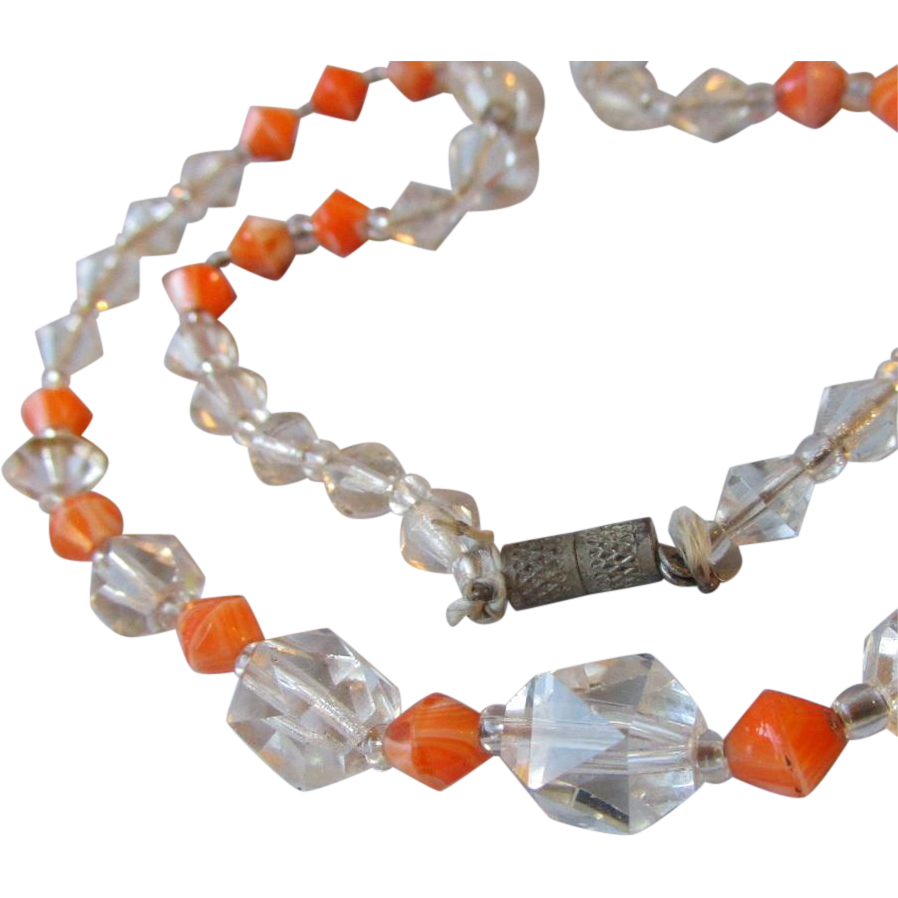 1920's Vintage Flapper Square Cut Crystal & Faux Coral Necklace