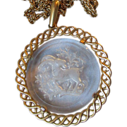 Vintage CROWN TRIFARI Glass Pendant ZODIAC Cut Intaglio Capricorn Necklace