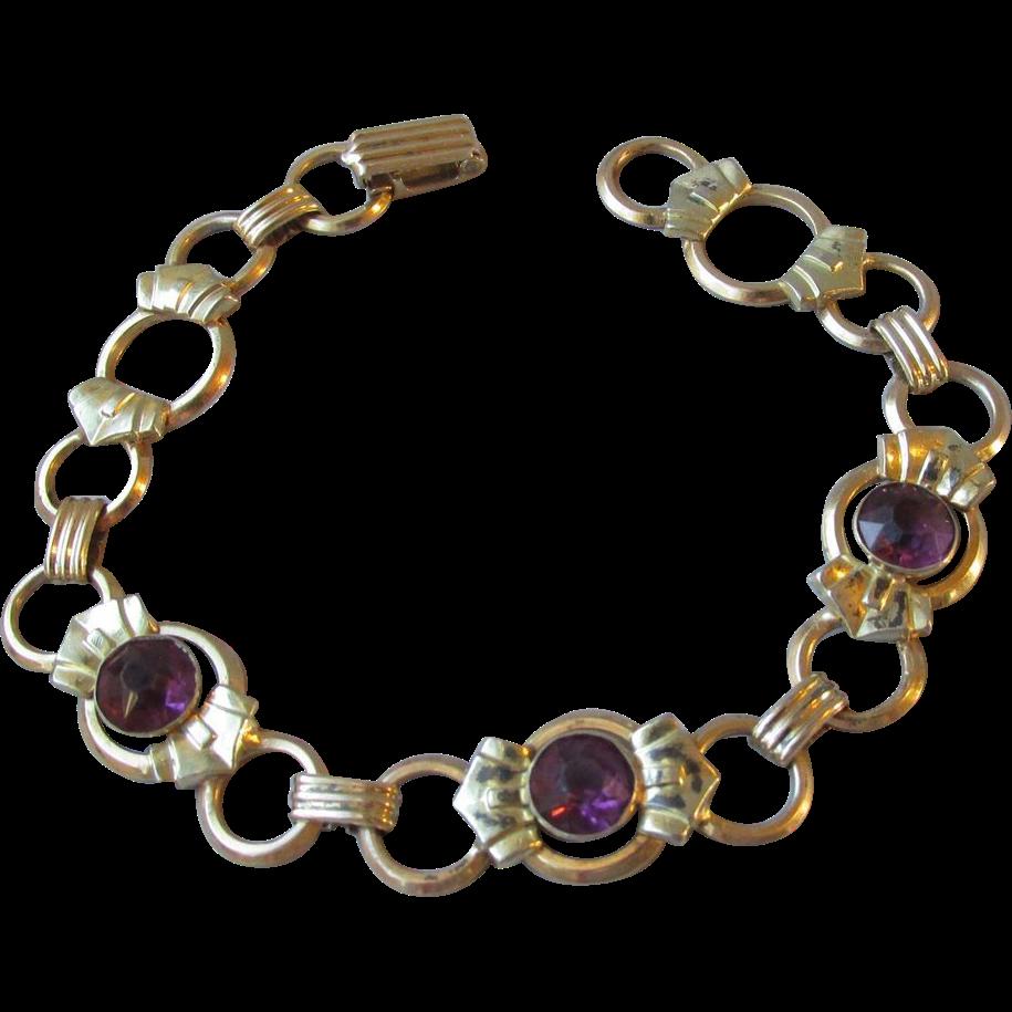 DRASTIC REDUCTION Vintage 1930's Art Deco Gold Plated Sterling Silver Amethyst Rhinestone Bracelet