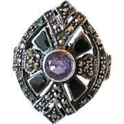 Big Vintage 1970's Art Deco Revival Sterling Silver, Amethyst, Onyx & Marcasite Ring, Size 7
