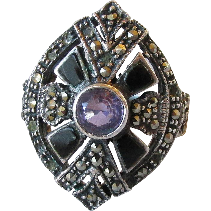 Big Vintage Art Deco Sterling Silver, Amethyst, Onyx & Marcasite Ring