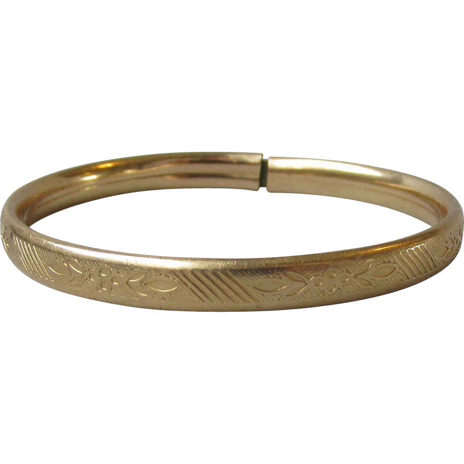 Antique Edwardian 14k Gold Filled Engraved Child's Bangle Bracelet