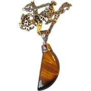 Vintage BIG Sterling & Jeweled Tiger's Eye Pendant Heavy Curb Link Chain Necklace