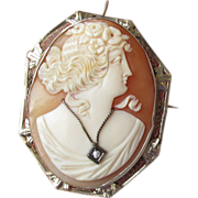 Antique Victorian  Solid 14k White Gold Habille Diamond Cameo Pin Pendant