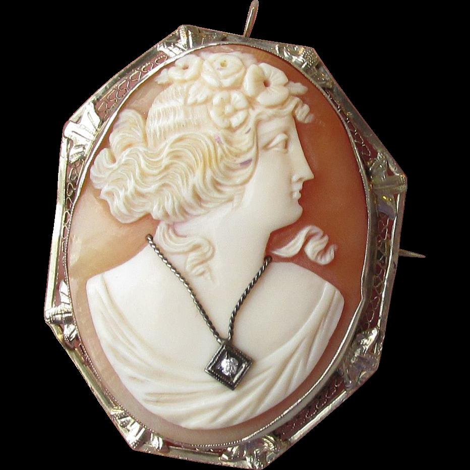Antique Victorian  Solid 14k White Gold Habille Diamond Cameo Pin Pendant