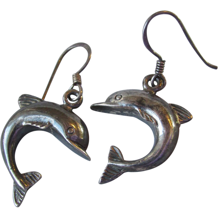 Vintage Black Sterling Silver Jumping DOLPHINs Dangle Earrings
