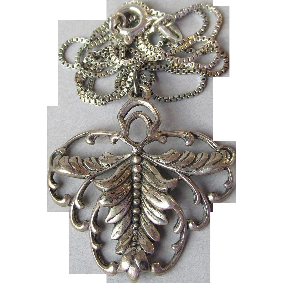 Designer Sterling Silver Signed Steve Stamas Vintage Pendant Necklace