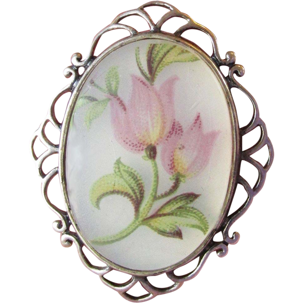 Vintage Jezlaine Sterling Silver & Frosted Glass TULIPS Pin