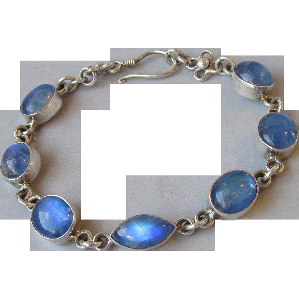 Vintage Sterling Silver & Blue Moonstone Oval Link Bracelet