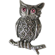 Vintage Sterling Silver, Amethyst & Marcasite OWL on a Branch Pin
