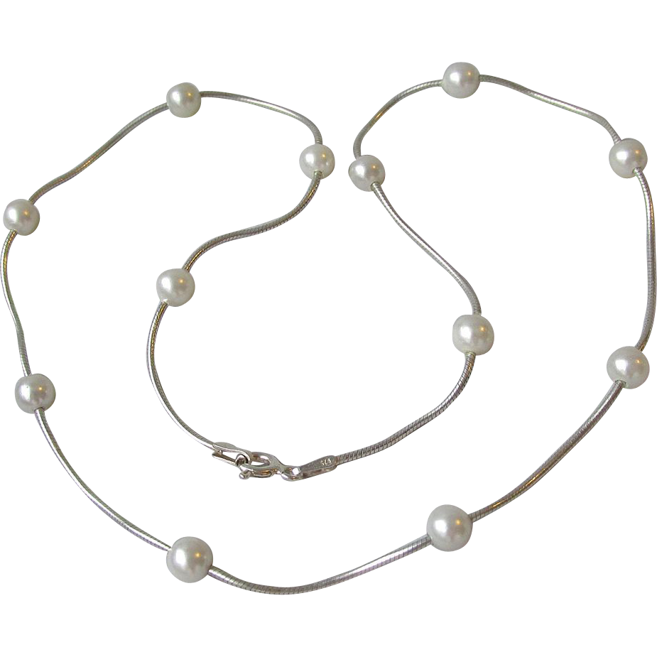 Sterling Silver & Floating Cultured Pearl Necklace