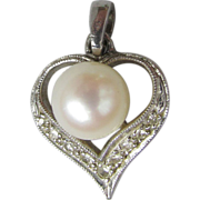 1960's Vintage 14k White Gold, Cultured Pearl & Diamond Modern Heart Pendant for Necklace