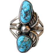 Old Pawn Native American Navajo Sterling Silver & Turquoise Long Vintage Ring, Size 6.5