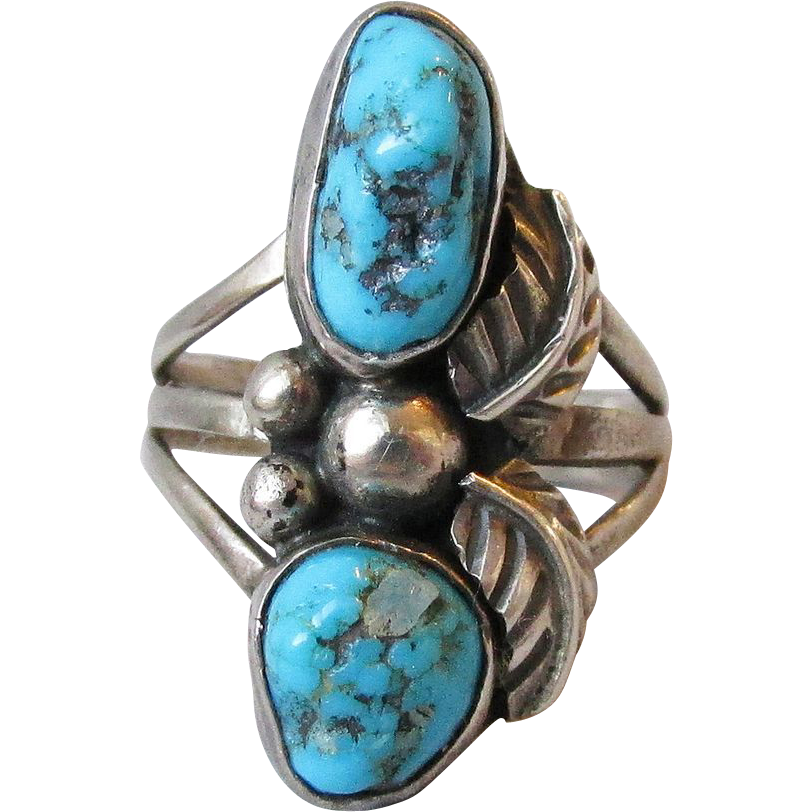 1960's Native American Navajo Sterling Silver & Turquoise Vintage Ring, Size 6.5