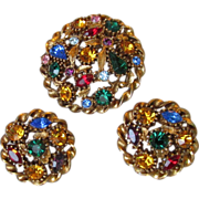 Multi-Color Rhinestone Round Pin & Earrings Set, Vintage 1960's Demi Parure