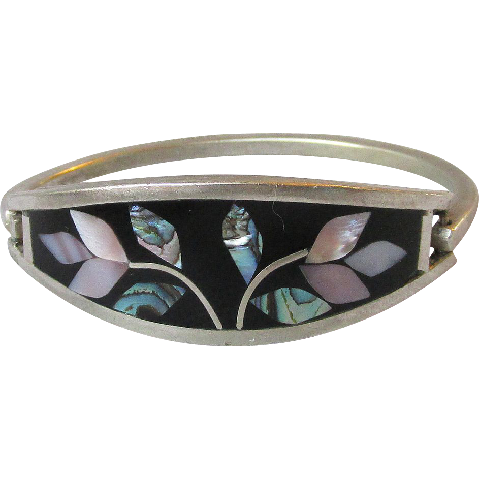 Vintage Sterling Silver Mexican Onyx, Abalone, & Mother-of-Pearl FLORAL Cuff Bracelet, Size XS or Child's