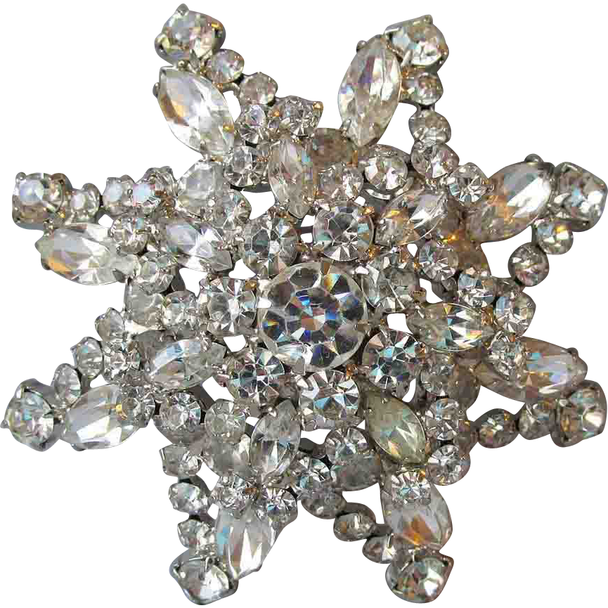 Spectacular Vintage Unmarked Weiss HUGE Layered Rhinestone Flower Pin