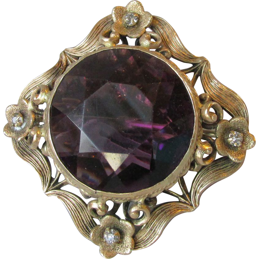 Antique Art Nouveau Purple Glass Rhinestone Pin