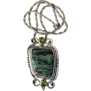 DRASTIC REDUCTION - BIG Sterling Silver, Malachite & Peridot Pendant Necklace
