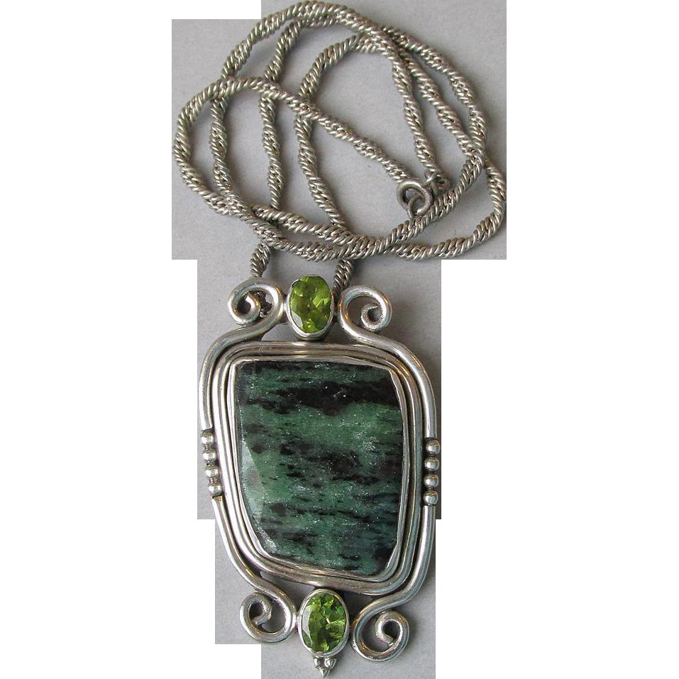 DRASTIC REDUCTION - BIG Sterling Silver, Malachite & Peridot Pendant Necklace