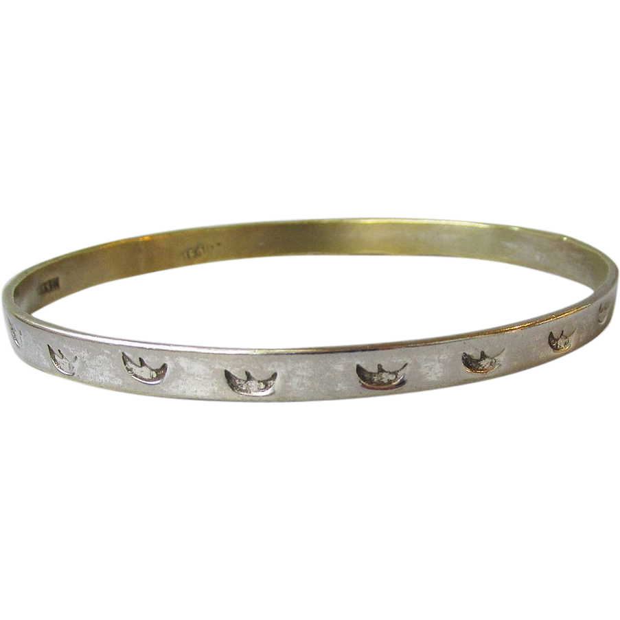 Vintage Mexico Sterling Silver Bangle Bracelet with Crescent Moons