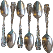 6 Antique Victorian Sterling Silver Soup Place Spoons, Frank Whiting JOSEPHINE Pattern