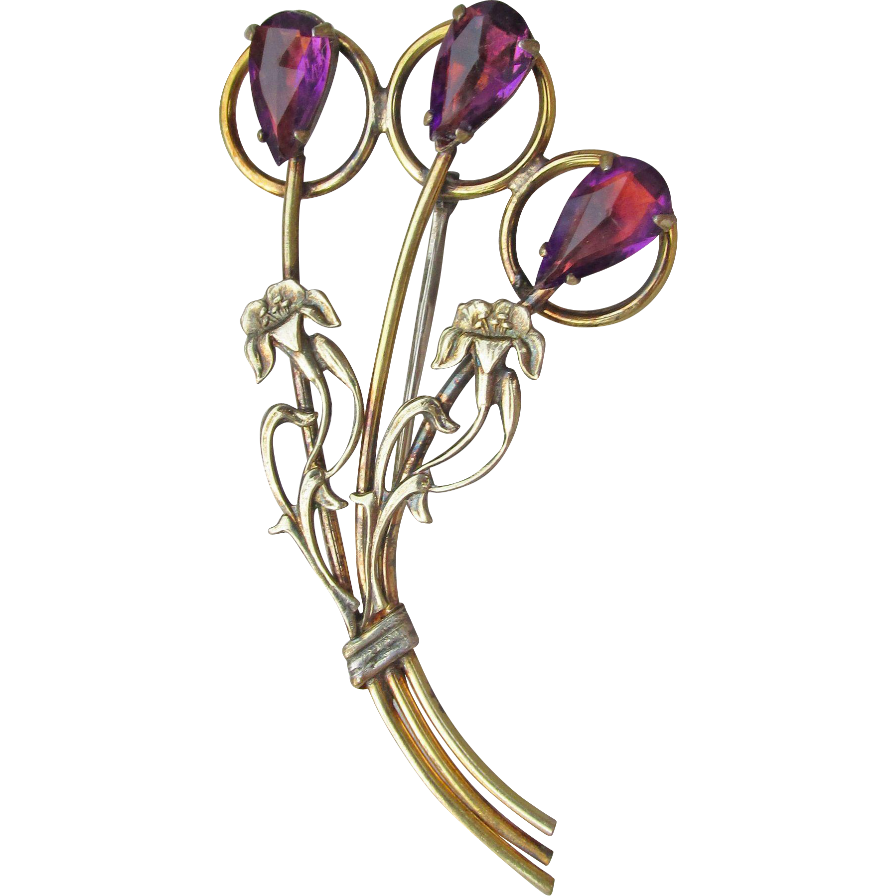 Exquisite Vintage Art Deco Gold Filled Sterling Silver IRIS Flower Rhinestone Pin, Signed White Co