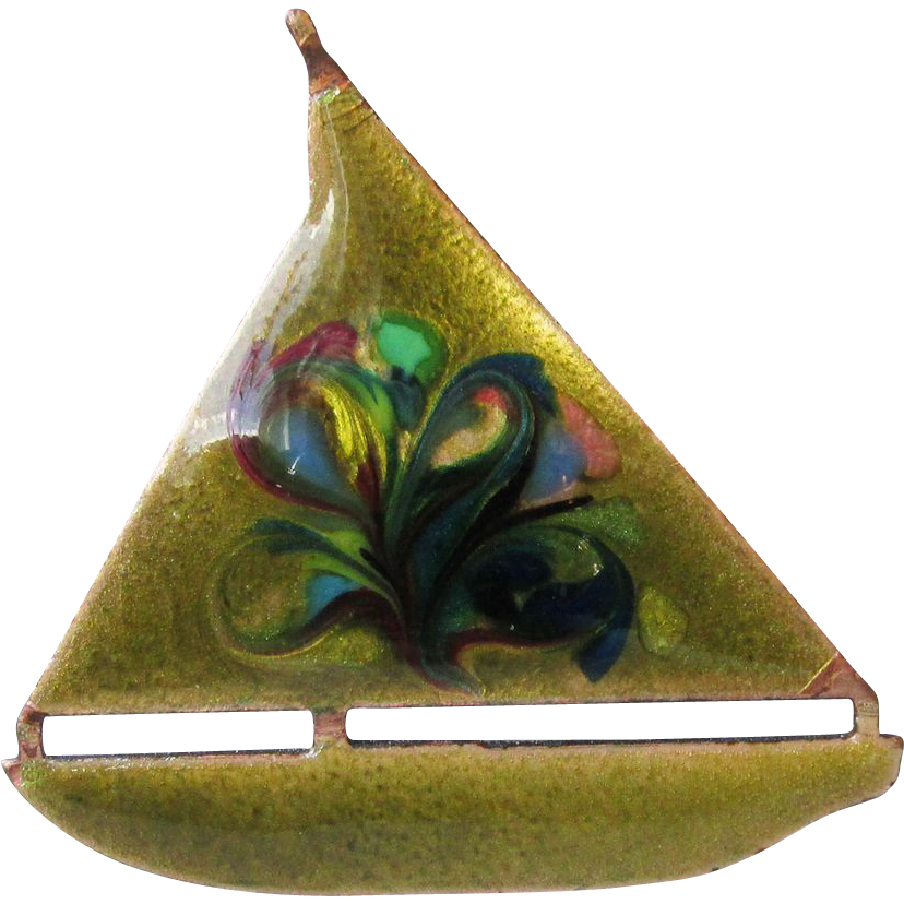 DRASTIC REDUCTION Vintage Mid-Century Modern Enamel on Copper Sailboat Pin