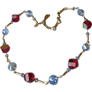 Vintage Unusual Cut Blue & Red Aurora Borealis Crystal Bead Necklace