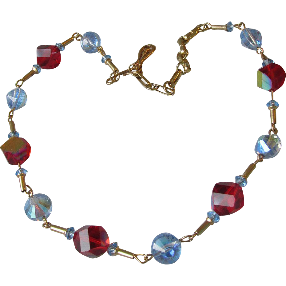 Vintage Modernist Swarovski Blue Aspirin & Cubic Shape Red Aurora Borealis Crystal Bead Necklace