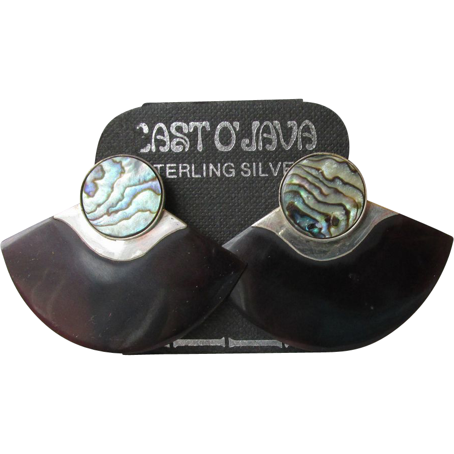 Vintage East 'O Java Sterling Silver, Abalone & Faux Tortoise Shell Earrings