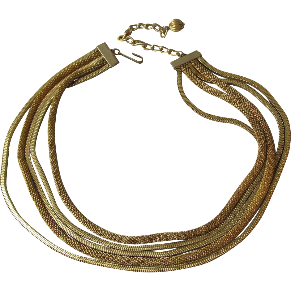 Kramer Five Strand Vintage Chain Necklace