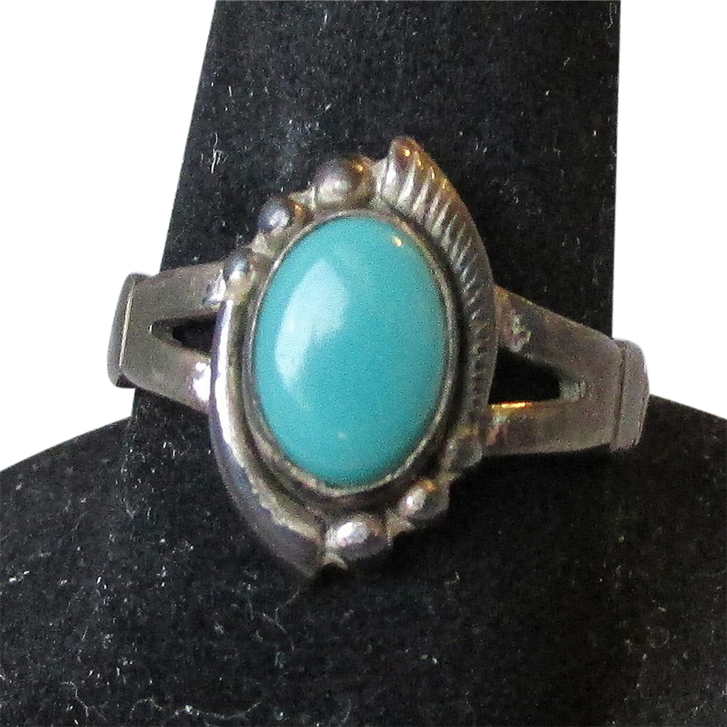 1940's Vintage Native American Sterling Silver Turquoise Ring, Size 6, Patina!
