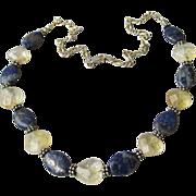 Artisan Lapis Lazuli & Citrine Bali Sterling Silver Necklace