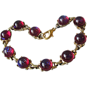 Vintage 1960's Dragon's Breath Cabochon Gold Plated Bracelet
