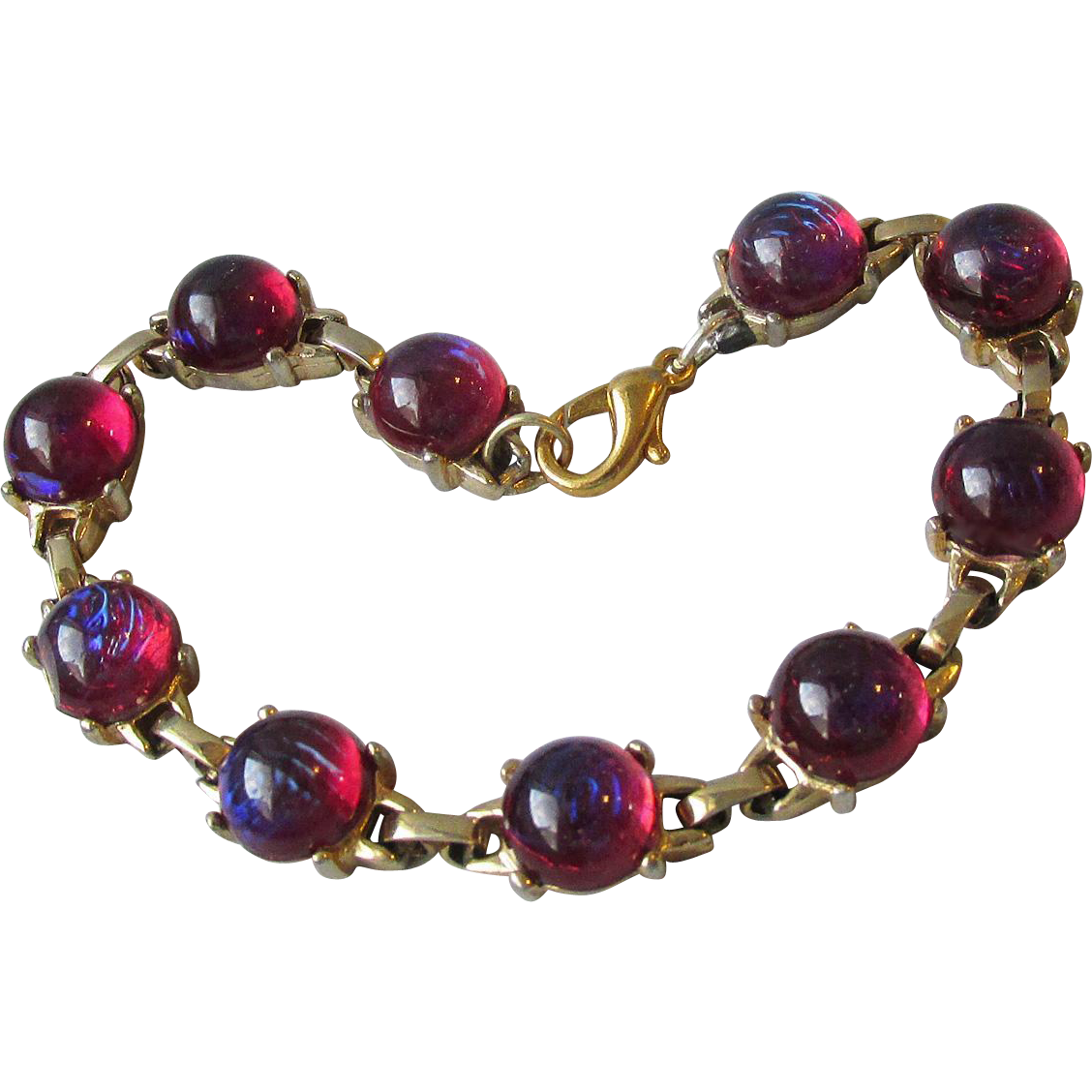 Vintage 1960's Dragon's Breath Glass Cabochon Gold Filled Bracelet