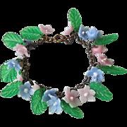 Pretty Vintage 1920's Celluloid Flowers Charm Bracelet