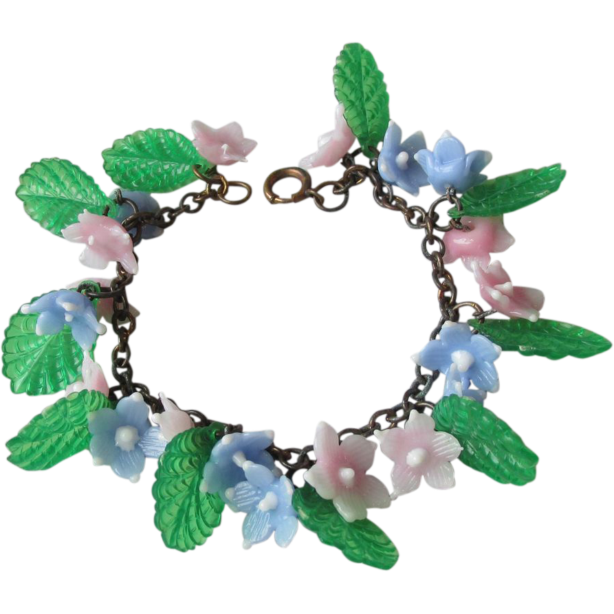 Marvelous Vintage 1920's Celluloid Flowers Charm Bracelet