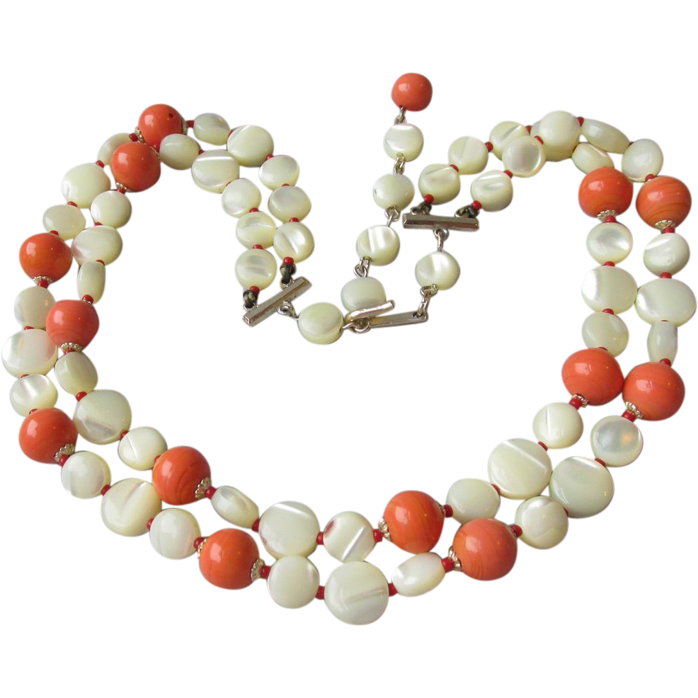 Vintage 1950's Japanese Two-Strand MOP Mother-of-Pearl Shell Disk Bead & Faux Coral Glass Necklace