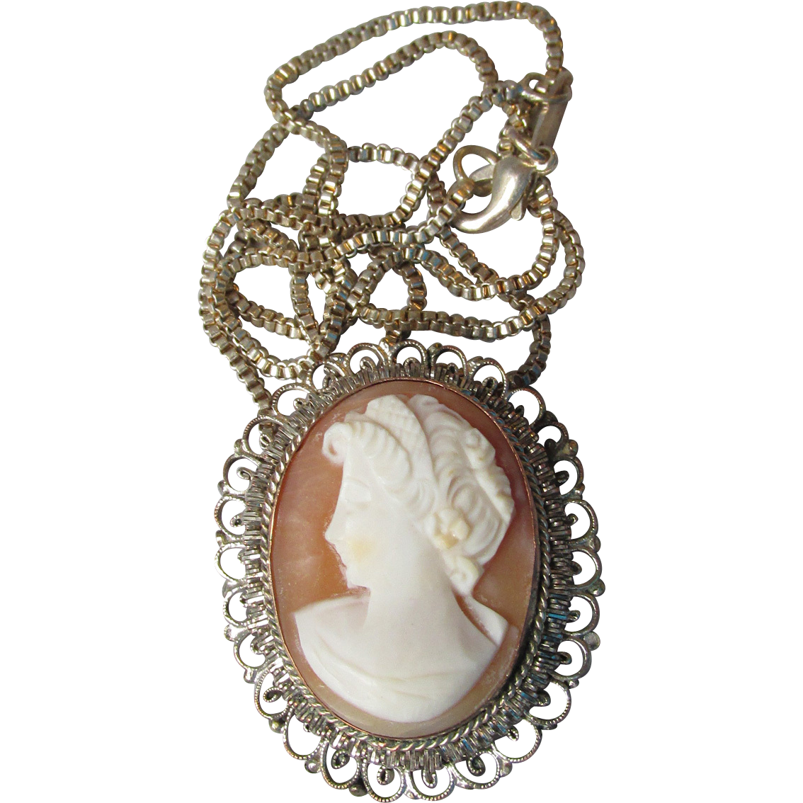Antique Victorian 800 Silver Shell Cameo Pendant, Sterling Silver Chain Necklace