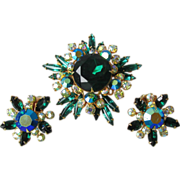 Vintage Signed Beau Jewels Emerald Green Aurora Borealis Rhinestone Pin & Earrings Set